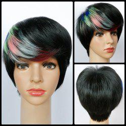 Highlight Inclined Bang Short Straight Synthetic Wig -