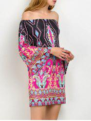 Off The Shoulder Bohemian Print Tunic Dress - PINK