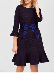 Tied Belt Jacquard Fishtail Dress