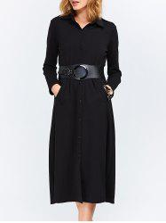 Long Sleeves Longline Button Up Shirt Dress