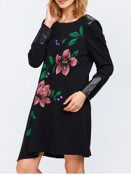 Leather Insert Floral Print Shift Dress