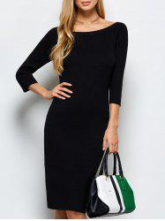 Scoop Neck Kneel Length Ribbed Knit Bodycon Dress -
