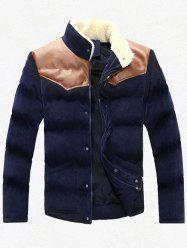 Plus Size Stand Collar PU Leather Spliced Corduroy Flocking Jacket