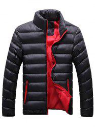 Plus Size Stand Collar Zip Up Down Jacket
