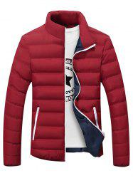 Plus Size Stand Collar Color Block Zipper Down Jacket
