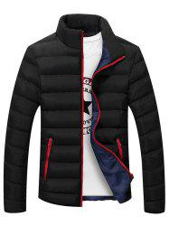 Plus Size Stand Collar Color Block Zipper Down Jacket - BLACK