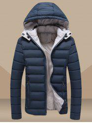 Plus Size Hooded Zip Up Slimming Down Jacket