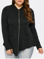 Zip Up Hooded Asymmetric Casual Jacket - BLACK