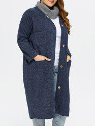 Collarless Button Up Long Coat - DEEP BLUE