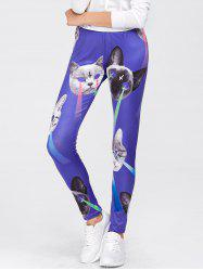 Cat Print Sports Leggings - BLUE