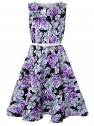 Sleeveless Floral Print A Line Vintage Dress