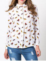 Birds Printed Hidden Chiffon Button Down Shirt - WHITE M