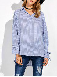 Striped High Low Pullover Shirt - BLUE AND WHITE 5XL