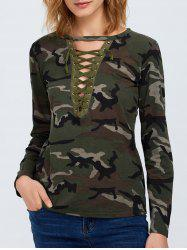 Camo Long Sleeve Lace Up T-Shirt