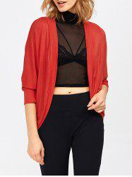 Open Front Dolman Sleeve Cardigan - RED