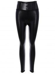 High Waisted Fleece PU leather Leggings