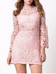 Flare Sleeve Hollow Out Short Lace Dress with Sleeves