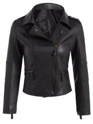 Faux Leather Asymmetric Zip Short Biker Jacket - BLACK