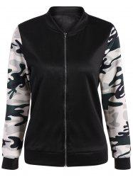 Camouflage Panel Zippered Bomber Jacket -