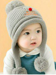 Christmas Elk Pattern Baby Knitted Beanie Pompom Hat -