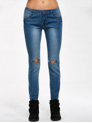 Low Rise Knee Ripped Jeans -