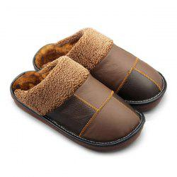 Colour Block Plaid Stitching House Slippers -