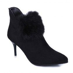 Stiletto Heel Faux Fur Zip Ankle Boots
