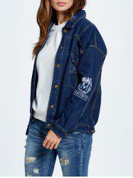 Letter Embroidered Button Up Denim Jacket - DEEP BLUE