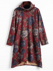 Floral Print Funnel Neck High Low Dress - CLARET 2XL