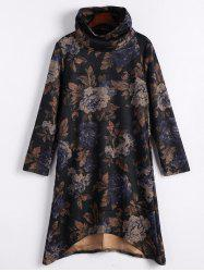 Floral Funnel Neck High Low Dress