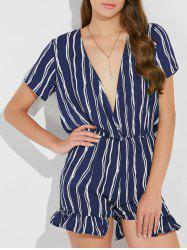 Plunging Neck Striped Print Flounce Romper -