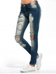 Skinny Distressed Jeans - PURPLISH BLUE