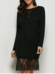Lace Panel Long Sleeve Pullover Dress