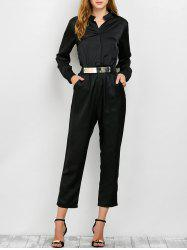 Long Sleeve Shirt Jumpsuit - BLACK