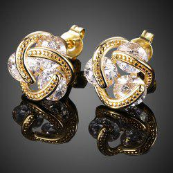 Rhinestone Flower Shape Earrings