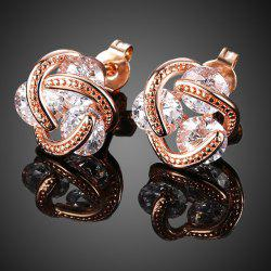 Rhinestone Flower Shape Earrings - ROSE GOLD