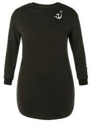 Plus Size Long Sleeve Graphic Casual Dress -