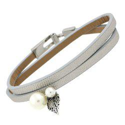 Artificial Leather Leaf Pearl Bracelet