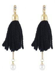 Artificial Pearl Rhinestone Tassel Earrings