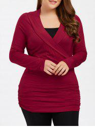 Plus Size Ruched Fitted T-Shirt with Long Sleeve - BURGUNDY XL