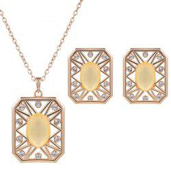 Rhinestone Artificial Opal Necklace and Earrings -