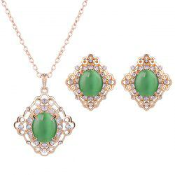 Rhinestone Artificial Gemstone Necklace and Earrings