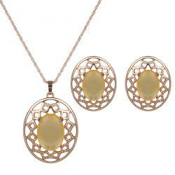 Artificial Gemstone Oval Necklace and Earrings