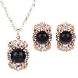 Rhinestoned Bead Necklace and Earrings
