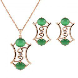 Faux Jade Gem Pendant Necklace and Earrings