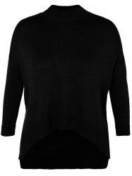 Funnel Neck Plus Size High Low Sweater - BLACK