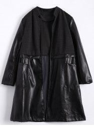 Stand Neck PU Leather Panel Plus Size Coat - BLACK