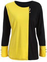 Plus Size Panel T-Shirt with Buttons -
