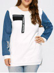 Distressed Plus Size Panel Sweatshirt with Zipper -