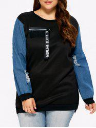 Distressed Plus Size Panel Sweatshirt with Zipper - BLACK